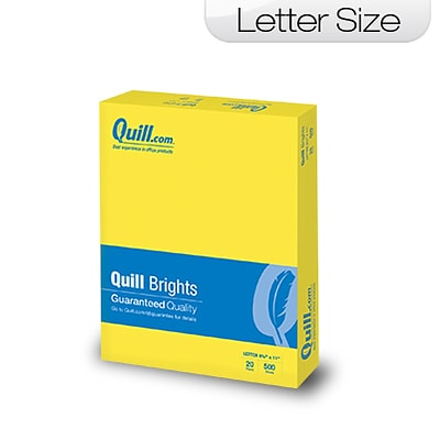 Quill Brand Brights 20-lb. Color Paper, 8-1/2x11, Letter Size, Lemon Yellow, 500 Sheets