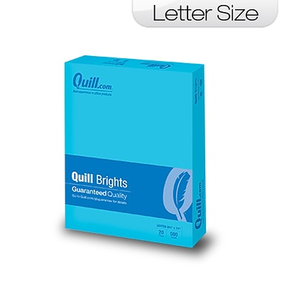 Quill Brand Brights 20-lb. Color Paper, 8-1/2x11, Letter Size, Blue, 500 Sheets
