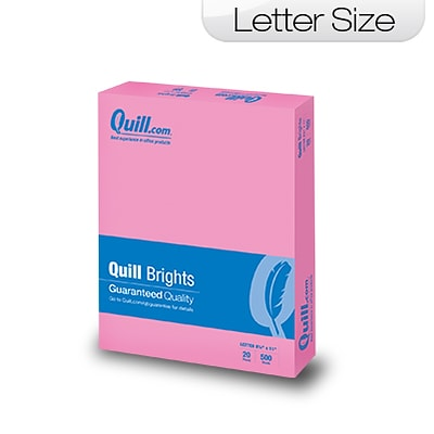 Quill Brand® Brights Multipurpose Paper, 20 lbs., 8.5 x 11, Pink, 500 Sheets/Ream (722421)