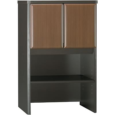 Bush® Cubix® Collection in Sienna Walnut/Bronze Finish; Storage Hutch, 24W, Fully Assembled