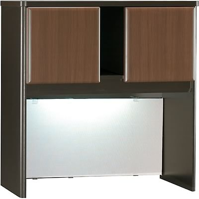Bush® Cubix® Collection in Sienna Walnut/Bronze Finish; Hutch, 36W, Fully Assembled