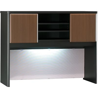 Bush® Cubix® Collection in Sienna Walnut/Bronze Finish; Hutch, 48W, Fully Assembled