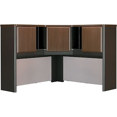 Bush® Cubix® Collection in Sienna Walnut/Bronze Finish; Corner Hutch, 47-1/4W, Fully Assembled