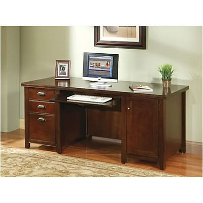 Martin Furniture Tribeca Loft Collection in Cherry Finish; Double Pedestal Computer Desk
