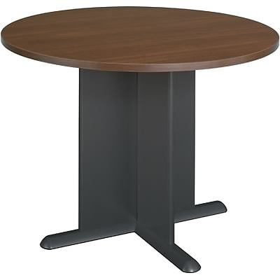 Bush® Cubix® Collection in Sienna Walnut/Bronze Finish; Round Conference Table, Ready to Assemble