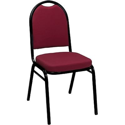 KFI® 520 Series Fabric Padded Seat Stacking Chairs; Burgundy Pindot, Black Frame
