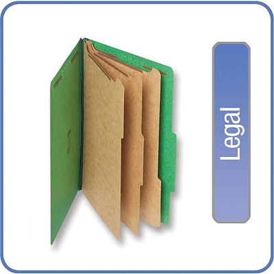 Quill Brand® Pressboard Classification Folders; 25-pt., 8-Fasteners, 3 Partitions, 2/5-Cut Tabs, Legal Size, Green, 15/BX