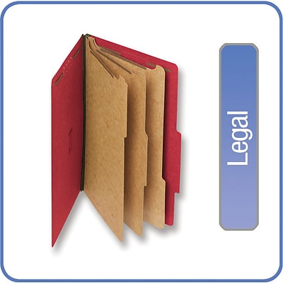 Quill Brand® Pressboard Classification Folders; 25-pt., 8-Fasteners, 3 Partitions, 2/5-Cut Tabs, Legal Size, Red, 15/BX