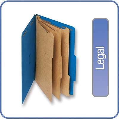 Quill Brand® Pressboard Classification Folders; 25-pt., 8-Fasteners, 3 Partitions, 2/5-Cut Tabs, Legal Size, Blue, 15/BX