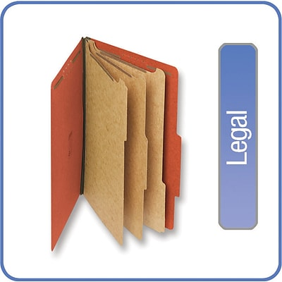Quill Brand® Pressboard Classification Folders; 25-pt., 8-Fasteners, 3 Partitions, 2/5-Cut Tabs, Legal Size, Brown, 15/BX