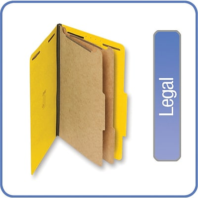Quill Brand® 2/5-Cut Tab Pressboard Classification File Folders, 2-Partitions, 6-Fasteners, Legal, Yellow 15/Bx (739038)