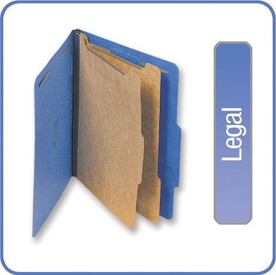 Quill Brand® 2/5-Cut Tab Pressboard Classification File Folders, 2-Partitions, 6-Fasteners, Legal, Blue, 15/Bx (7-39026)