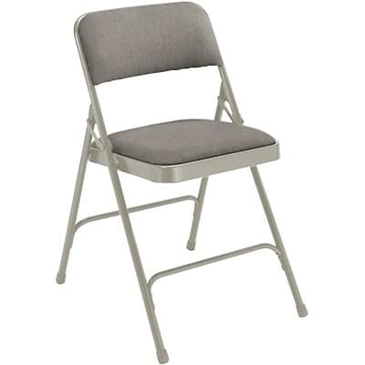 National Public Seating Fabric Upholstered Premium Folding Chairs; Grey