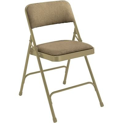 National Public Seating Fabric Upholstered Premium Folding Chairs; Beige