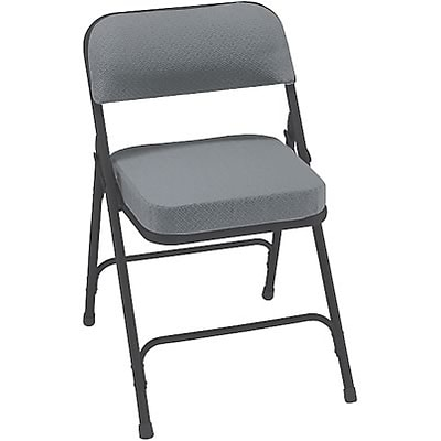 National Public Seating 2 Thick Padded Fabric Upholstered Folding Chair; Grey