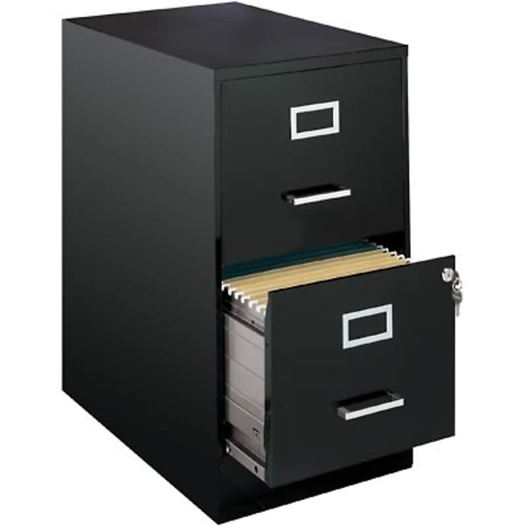 Space Solutions 2 Drawer File Cabinet Letter Width Black 22 Deep 13226 Quill Com
