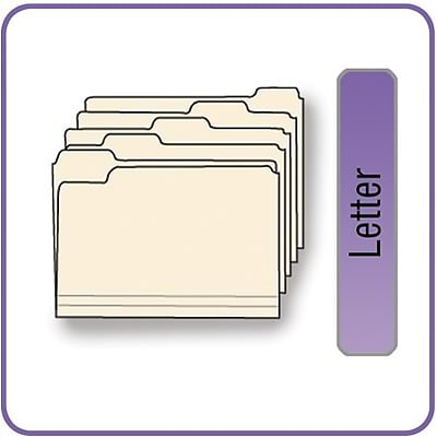 Quill Brand® Standard Manila File Folders; 1-Ply, 1/5-Cut Assorted Tabs, Letter Size, 100/BX