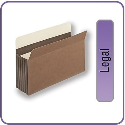 Quill Brand® Heavy-Duty Reinforced Expanding File Pockets, 5-1/4 Expansion, Legal Size, 10/Box (7C1536)