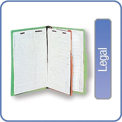 Quill Brand® Pressboard Classification Folders; 25-pt, 4-Fasteners, 1 Partition, 2/5-Cut Tabs, Legal Size, Green, 15/BX
