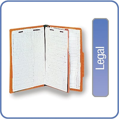 Quill Brand® Pressboard Classification Folders; 25-pt, 4-Fasteners, 1 Partition, 2/5-Cut Tabs, Legal Size, Brown, 15/BX