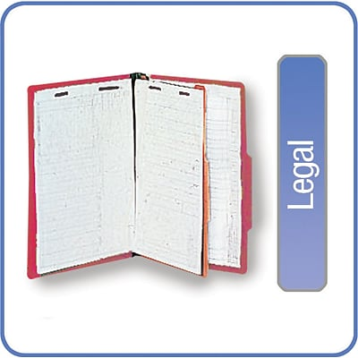 Quill Brand® Pressboard Classification Folders; 25-pt, 4-Fasteners, 1 Partition, 2/5-Cut Tabs, Legal Size, Red, 15/BX