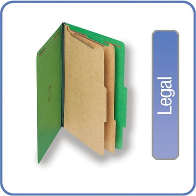 Quill Brand® 2/5-Cut Tab Pressboard Classification File Folders, 2-Partitions, 6-Fasteners, Legal, Green, 15/Bx (739034)