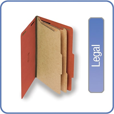 Quill Brand® Pressboard Classification Folders; 25-pt., 6-Fasteners, 2 Partitions, 2/5-Cut Tabs, Legal Size, Brown, 15/BX