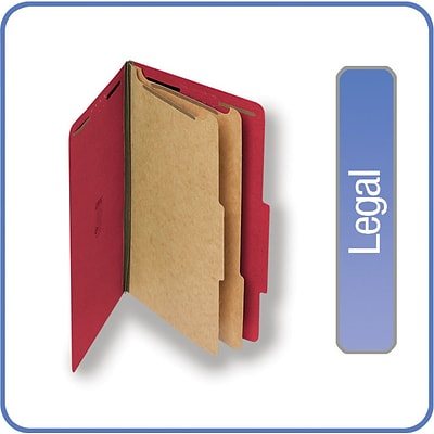 Quill Brand® 2/5-Cut Tab Pressboard Classification File Folders, 2-Partitions, 6-Fasteners, Legal, Red, 15/Bx (739030)