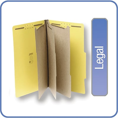 Quill Brand® Pressboard Classification Folders; 25-pt., 8-Fasteners, 3 Partitions, 2/5-Cut Tabs, Legal Size, Yellow, 15/BX