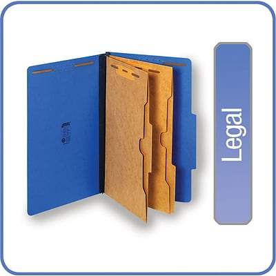 Quill Brand® Pressboard Classification Folders w/ Pockets; 25-pt, 6-Fasteners, 2 Partitions, 2/5-Cut Tabs, Legal, Blue 15/BX