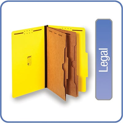 Quill Brand® Pressboard Classification Folders w/ Pockets; 25-pt, 6-Fasteners, 2 Partitions, 2/5-Cut Tabs, Legal, Yellow 15/BX