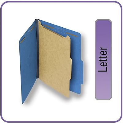 Quill Brand® Pressboard Classification Folders; 25-pt, 4-Fasteners, 1 Partition,  2/5-Cut Tabs, Letter Size, Blue, 15/BX