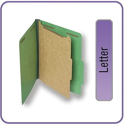 Quill Brand® 2/5-Cut Tab Pressboard Classification File Folders, 1-Partition, 4-Fasteners, Letter, Green, 15/Bx (746034)