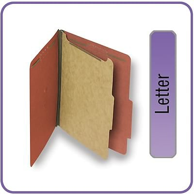 Quill Brand® Pressboard Classification Folders; 25-pt, 4-Fasteners, 1 Partition, 2/5-Cut Tabs, Letter Size, Brown, 15/BX