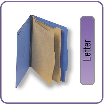 Quill Brand® 2/5-Cut Tab Pressboard Classification File Folders, 2-Partitions, 6-Fasteners, Letter, Blue, 15/Bx (738026)