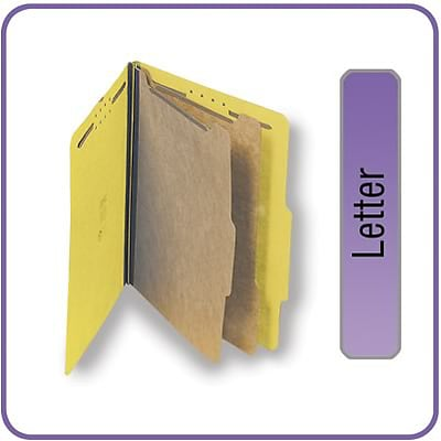 Quill Brand® 2/5-Cut Tab Pressboard Classification File Folders, 2-Partitions, 6-Fasteners, Letter, Yellow, 15/Bx (738038)