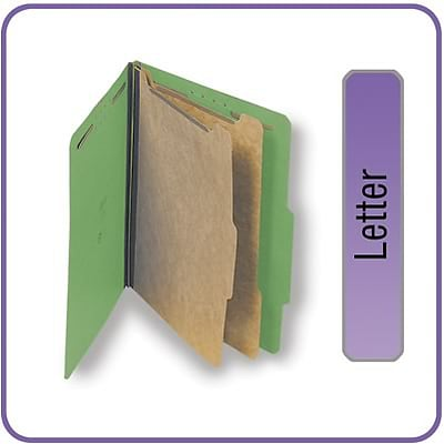 Quill Brand® Pressboard Classification Folders; 25-pt., 6-Fasteners, 2 Partitions,  2/5-Cut Tabs, Letter Size, Green, 15/BX