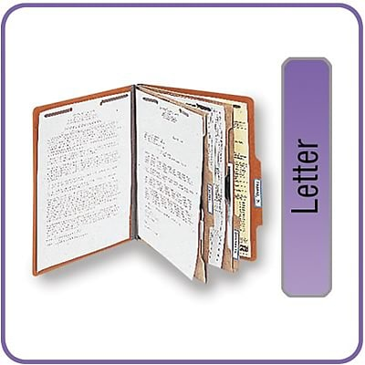 Quill Brand® 2/5-Cut Tab Pressboard Classification File Folders, 2-Partitions, 6-Fasteners, Letter, Brown, 15/Bx (738036)