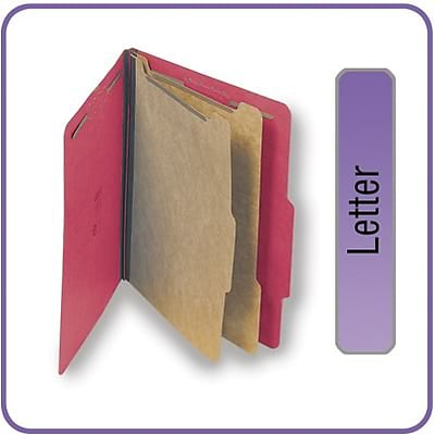 Quill Brand® Pressboard Classification Folders; 25-pt., 6-Fasteners, 2 Partitions, 2/5-Cut Tabs, Letter Size, Red, 15/BX