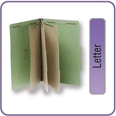 Quill Brand® 2/5-Cut Tab Pressboard Classification File Folders, 3-Partitions, 8-Fasteners, Letter, Green, 15/Bx (7-44034)