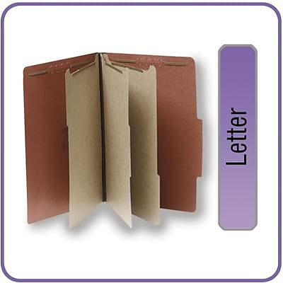 Quill Brand® Pressboard Classification Folders; 25-pt., 8-Fasteners, 3 Partitions, 2/5-Cut Tabs, Letter Size, Brown, 15/BX