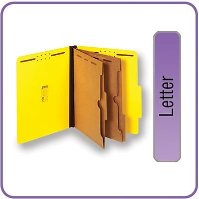 Quill Brand® Pressboard Classification Folders w/ Pockets; 25-pt, 6-Fasteners, 2 Partitions, 2/5-Cut Tabs, Letter, Yellow 15/BX