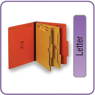 Quill Brand® Pressboard Classification Folders w/ Pockets; 25-pt, 6-Fasteners, 2 Partitions,  2/5-Cut Tabs, Letter, Brown 15/BX