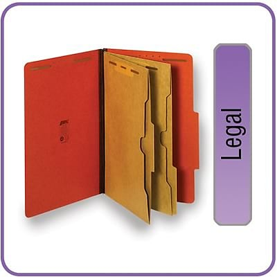 Quill Brand® Pressboard Classification Folders w/ Pockets; 25-pt, 6-Fasteners, 2 Partitions, 2/5-Cut Tabs, Legal, Brown 15/BX