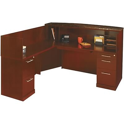 Mayline® Sorrento, Bourbon Cherry, Reception Station w/Left Return, Marble Counter
