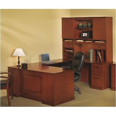 Mayline® Sorrento Collection in Bourbon Cherry; Executive Right U Desk