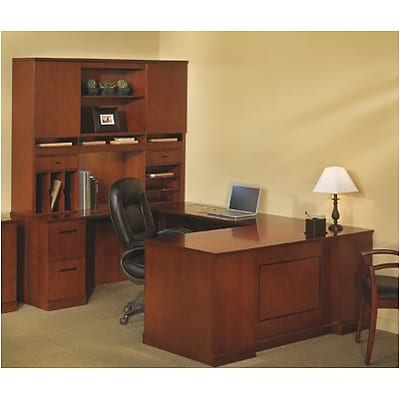 Mayline® Sorrento Collection in Bourbon Cherry; Executive Left U Desk