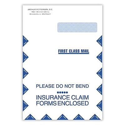 Jumbo Insurance Claim Envelope with Right-Side Window; Self Seal, Confidential 9x13
