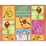 Medical Arts Press® Medical Birthday Cards; Medical Team with Balloons, Personalized
