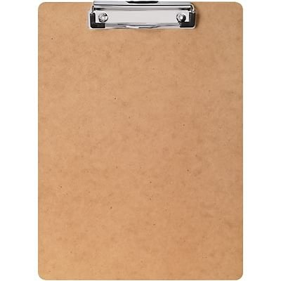 Quill Brand® Hardboard Clipboard, Low-Profile Clip, Letter Size, 9 x 12-1/2, Tan (22094-QCC)